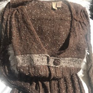 BKE CARDIGAN SMALL BROWN AND CREAM